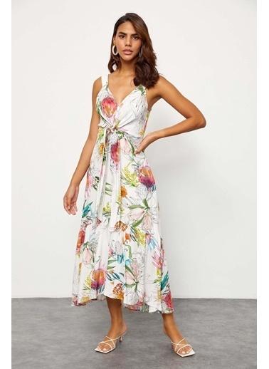 Setre Ekru Floral Desen V Yaka Elbise Ekru